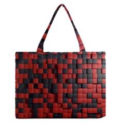 Black Red Tiles Checkerboard Medium Zipper Tote Bag