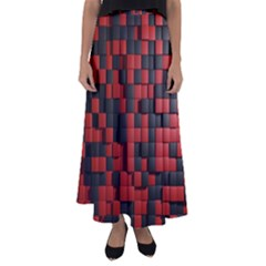 Black Red Tiles Checkerboard Flared Maxi Skirt