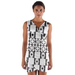 Pattern Background Texture Black Wrap Front Bodycon Dress