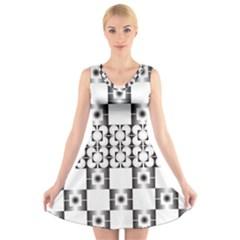 Pattern Background Texture Black V Neck Sleeveless Skater Dress