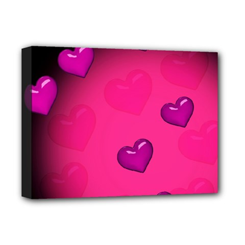 Background Heart Valentine S Day Deluxe Canvas 16  X 12