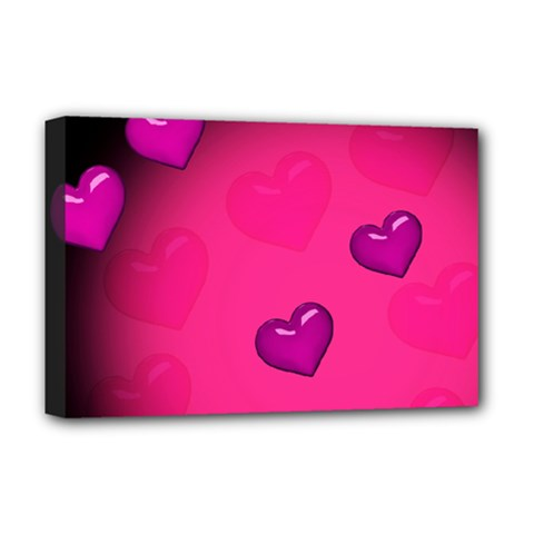 Background Heart Valentine S Day Deluxe Canvas 18  X 12