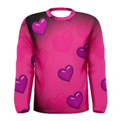 Background Heart Valentine S Day Men s Long Sleeve Tee