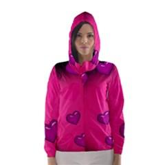 Background Heart Valentine S Day Hooded Wind Breaker (women)