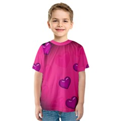 Background Heart Valentine S Day Kids  Sport Mesh Tee