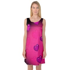 Background Heart Valentine S Day Sleeveless Satin Nightdress