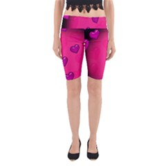 Background Heart Valentine S Day Yoga Cropped Leggings