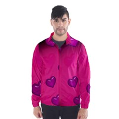 Background Heart Valentine S Day Wind Breaker (men)