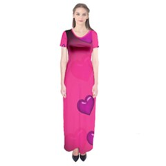 Background Heart Valentine S Day Short Sleeve Maxi Dress