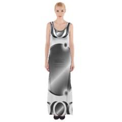 Metal Circle Background Ring Maxi Thigh Split Dress