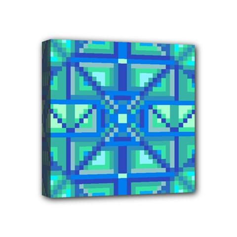 Grid Geometric Pattern Colorful Mini Canvas 4  x 4