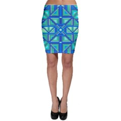 Grid Geometric Pattern Colorful Bodycon Skirt