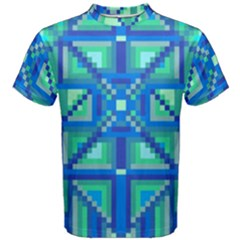 Grid Geometric Pattern Colorful Men s Cotton Tee