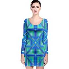 Grid Geometric Pattern Colorful Long Sleeve Bodycon Dress