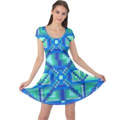 Grid Geometric Pattern Colorful Cap Sleeve Dresses
