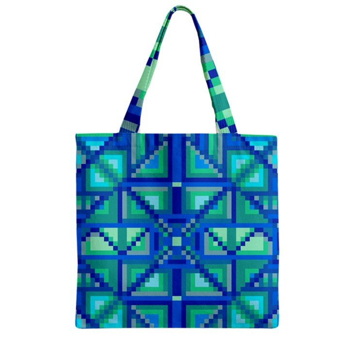 Grid Geometric Pattern Colorful Zipper Grocery Tote Bag