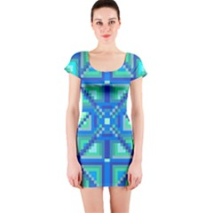 Grid Geometric Pattern Colorful Short Sleeve Bodycon Dress
