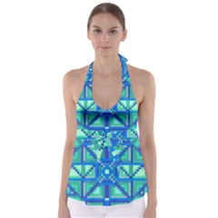 Grid Geometric Pattern Colorful Babydoll Tankini Top