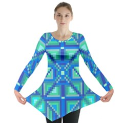 Grid Geometric Pattern Colorful Long Sleeve Tunic