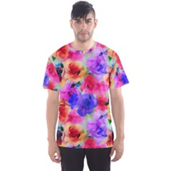 Floral Pattern Background Seamless Men s Sports Mesh Tee