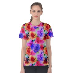 Floral Pattern Background Seamless Women s Cotton Tee