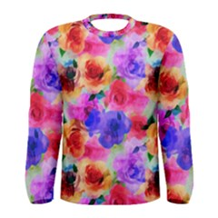Floral Pattern Background Seamless Men s Long Sleeve Tee