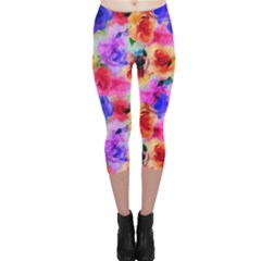 Floral Pattern Background Seamless Capri Leggings