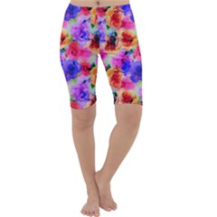 Floral Pattern Background Seamless Cropped Leggings
