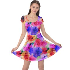 Floral Pattern Background Seamless Cap Sleeve Dresses