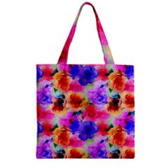 Floral Pattern Background Seamless Zipper Grocery Tote Bag