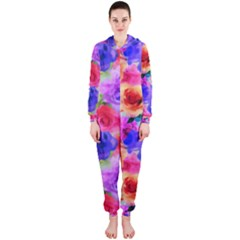 Floral Pattern Background Seamless Hooded Jumpsuit (ladies)