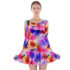 Floral Pattern Background Seamless Long Sleeve Skater Dress