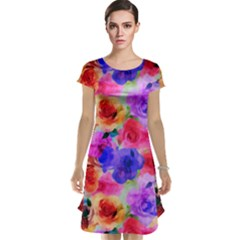 Floral Pattern Background Seamless Cap Sleeve Nightdress