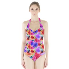 Floral Pattern Background Seamless Halter Swimsuit