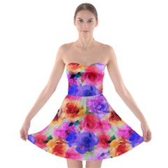 Floral Pattern Background Seamless Strapless Bra Top Dress