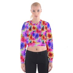 Floral Pattern Background Seamless Cropped Sweatshirt