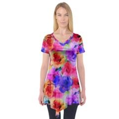 Floral Pattern Background Seamless Short Sleeve Tunic