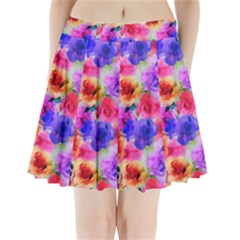 Floral Pattern Background Seamless Pleated Mini Skirt