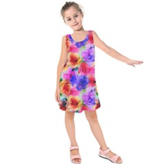 Floral Pattern Background Seamless Kids  Sleeveless Dress