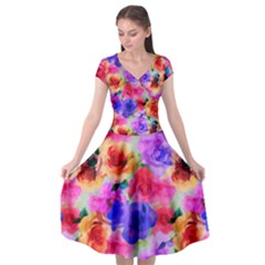 Floral Pattern Background Seamless Cap Sleeve Wrap Front Dress