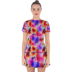 Floral Pattern Background Seamless Drop Hem Mini Chiffon Dress