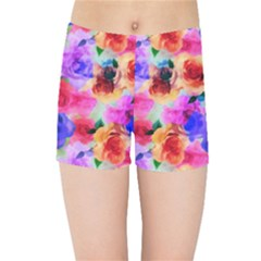 Floral Pattern Background Seamless Kids Sports Shorts