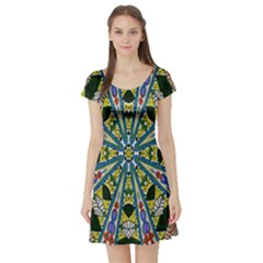 Kaleidoscope Background Short Sleeve Skater Dress
