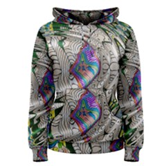 Water Ripple Design Background Wallpaper Of Water Ripples Applied To A Kaleidoscope Pattern Women s Pullover Hoodie