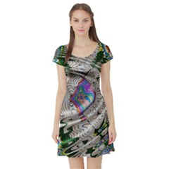 Water Ripple Design Background Wallpaper Of Water Ripples Applied To A Kaleidoscope Pattern Short Sleeve Skater Dress