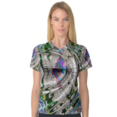 Water Ripple Design Background Wallpaper Of Water Ripples Applied To A Kaleidoscope Pattern V Neck Sport Mesh Tee