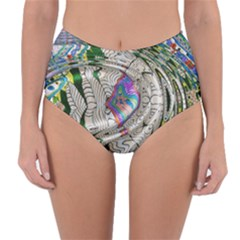 Water Ripple Design Background Wallpaper Of Water Ripples Applied To A Kaleidoscope Pattern Reversible High Waist Bikini Bottoms