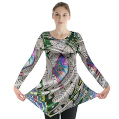 Water Ripple Design Background Wallpaper Of Water Ripples Applied To A Kaleidoscope Pattern Long Sleeve Tunic