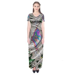 Water Ripple Design Background Wallpaper Of Water Ripples Applied To A Kaleidoscope Pattern Short Sleeve Maxi Dress