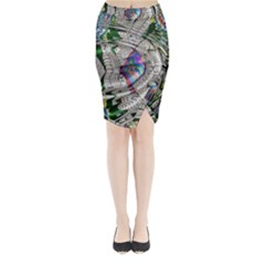 Water Ripple Design Background Wallpaper Of Water Ripples Applied To A Kaleidoscope Pattern Midi Wrap Pencil Skirt